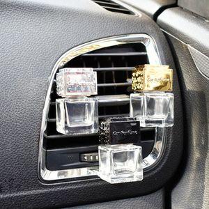 Altın Siyah Gümüş Packaging 100pcs / lot 6 ml Kare Kalın Cam Şişe Boş Şeffaf Otomobil Parfüm Şişesi Araç Vents Cam