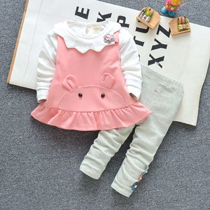 Newborn baby clothes set autumn and winter models girl cartoon ear tops + pants infant set baby clothes
