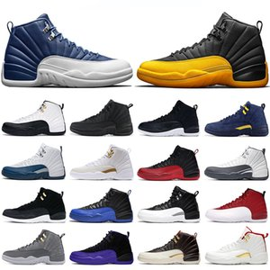 Mens basketball shoes 12s jumpman University Gold Stone Blue 12 Flu Game Royal The Master Dark Grey men Athletic sports sneakers size 7-13