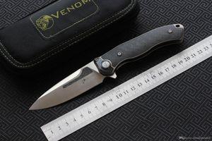 VENOM Кевином джон КОСТИ ДОКТОР M390 Titanium CF Flipper складной нож на открытом воздухе кемпинга выживания охотничьи фруктов карман кухонные ножи инструменты EDC