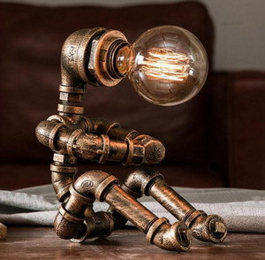 Vintage Table Lamps Retro Water Pipe Robot Desk Lamp Home Deco Industrial Lamp Beside Bedroom Lamp Study Decoration Led Beds LLFA