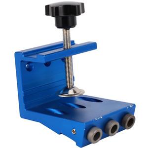 Carpintaria Oblique furo Locator madeira montado Ferramentas Punchers Perfuração Luminárias Guia braçadeira Locator Set Azul
