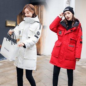 работа Vkbrr Женскую одежду вниз вниз рабочей одежду 2019 зима нового шнурка куртки средней длиной модной корейский стиль балахон куртку для горя