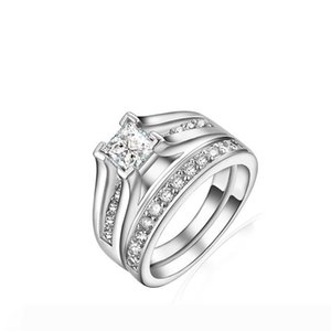 Luxury Square Austrian Crystal Ring, Fashion Silver with Platinum Plated,Fashion Silver Jewellery Rings Wholesale