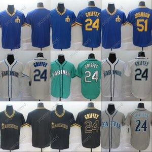 Mens 2020 Mariners Griffey JR. 51 Jersey Ichiro Suzuki 24 Ken Griffey Jr. Alle genähtes Seattle-Baseball-Shirts S-XXXL