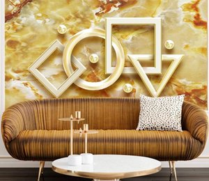 Custom 3D Wall Murals Wallpaper Golden flow pattern geometric solids Mural Painting Bedroom Living Room Wall Covering Home Decor