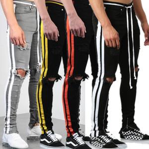 4 Colors Mens Jeans Side Stripes Webbing Jeans Knee Hole Multicolor Fashion Casual Pants Slim Elasticity Straight Trousers Pencil Pants