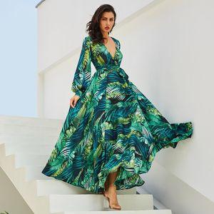 Estate Green Leaf stampa Vestito lungo sexy del collo di V Belt Lace Up Dress Plus Size manica lunga donne Boho Beach Robe Abiti Vestidos