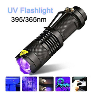 Handheld Portable LED UV Ultraviolet Torch With Zoom Function Black Light 365 395 nm Detector  14500 Battery