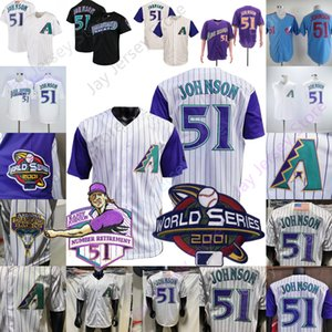 Randy Johnson Jersey 2001 WS 2015 Button Baseball Hall of Fame pensionamento Patch Bianco Viola gessato Crema Nero Pullover Giù