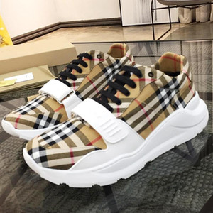 New 2020 Men Shoes Fashion Vintage Check Cotton Suede ,Neoprene And Leather Sneakers Luxury Chaussures Pour Hommes Mens Shoes Sports On Sale