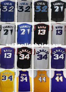 Mens 21 Kevin Garnett shaquille o'neal 13 Steve Nash 34 Charles Barkley 44 Jerry West Basketball Jersey XS-6XL vest Jerseys Ncaa