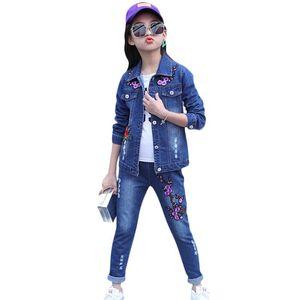 Abesay Filles Automne Vêtements Broderie Denim Veste + Pantalons 2 Pcs Casual layette Set ados Vêtements d'hiver 4-12 ans __gVirt_NP_NNS_NNPS<__