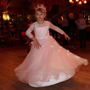 Lovely Pink Girls Pageant Dresses With 3D Flower Lace Jewel Neck Floor Length Flower Girls Dresses Kid Pageant Party Dress