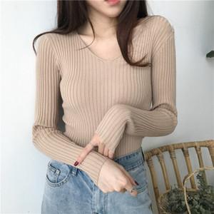 Korean Herbst V-Ausschnitt Pullover Strick-Mode Pullover 2020 dünne Winter-Tops für Frauen Pullover Pullover Pull Femme Truien Dames