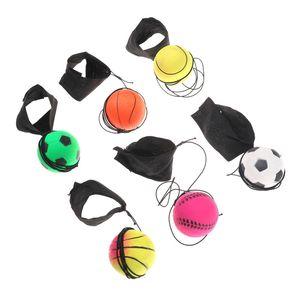 La banda de muñeca elástica diversión hinchables fluorescente Rubber Ball banda para la muñeca de la bola antiestrés formación Juego de mesa divertido elástico bola de color al azar