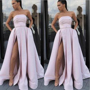 Strapless Pink Prom Dresses with Pockets 2020 Latest Fashion Satin A-line sexy Side Slit Simple Silver Prom Gowns robe de soiree