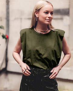 Без рукавов Дизайнер Tshirts моды сплошной цвет на шее рыхлой Лето тройники 20SS Новые Женщины Повседневная одежда женщин