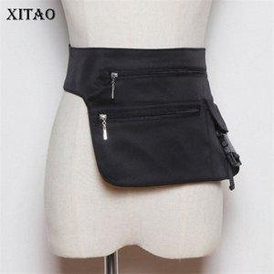 Xitao All Kinds Of personalizado Locomotivas cintura Packs Casual Patchwork Irregular Preto fresco pequeno estilo solto Packs ZLL5156 Ppxi #