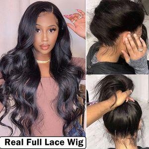 Las pelucas de pelo humano onda del cuerpo sin cola de encaje completa 250 Densidad transparente falso cuero cabelludo 30 pulgadas de encaje peluca de pelo con el bebé