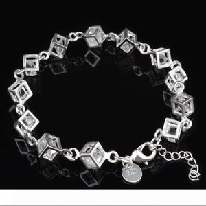 New Fashion Women 925 Silver Plated Charm Box Crystal Chain CZ Rhinestone Bracelet Bangle Jewelry