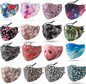 Lavable Mascarilla unisex 3D Designer algodón Espacio Breathe Cúbrase la boca Máscaras ajustable protector solar a prueba de polvo Boca-mufla con el paquete D71614