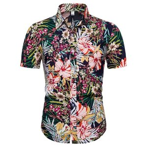 Nueva ocasional del verano brócoli hawaiano de la serie de flores cortas camisas manga corta breasted de uso diario-individual de la solapa de la manga de la camisa CS155