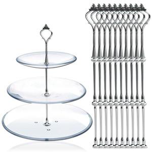 10 Набор 3 уровня Три слоя торт Тарелка стенд держатель наследного металлический стержень Fitting оборудования Rod Тарелка держатель Серебро