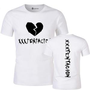 Лето Мужская футболка Broken Heart Letter Printed Тройник с коротким рукавом Смешные Прохладный Harajuku Tops Streetwear Новые вершины 100% хлопок