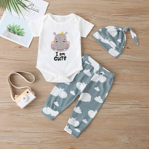 2020 Baby Sets Baby Clothing Newborn Girl Clothes Cartoon Animal Print Jumpsuit 3 Piece Set Short Romper+Pants+hat Outfit