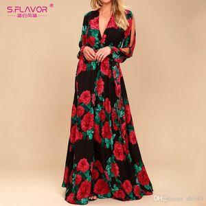 S.FLAVOR women bohemian long dress Hot sale rose printing V-neck sexy vestidos de festa Autumn Winter fashion long sleeve dressMX190927