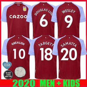 20 21 Aston Villa FUTEBOL JERSEY PRINCIPAL 2020 2021 Samatta Targett Grealish Wesley Douglas Luís MCGIM EL Ghazi HOMENS DE CRIANÇA kit de futebol CAMISAS