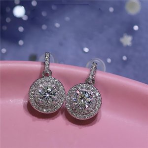 Hot New Sterling Silver Color Round Cute Bling Zircon Stone Stud Earring for Women Fashion Jewelry 2020 New Korean Earrings