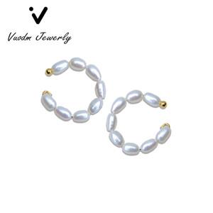 Pearl Ear Clip Earrings Natural Freshwater Ear Cuff Without Piercing Elegant Women Clips Bohemian Girl Wedding Jewelry