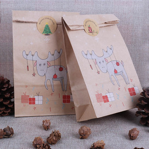 12ps christmas bags reindeer paper bag candy bags Xmas Stickers christmas Cookies packing navidad xmas natal decoration