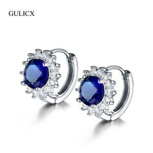 GULICX 4 Colors Cubic Zircon Hoop Earrings For Women Silver Color Flower Shape Female Earrings Bijoux Femme Jewelry Gift GLAE060