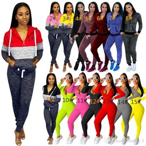 womens hoodie legging 2 piece set outfits long sleeve tracksuit jacket pants sportswear outerwear tights sports set hot 2503