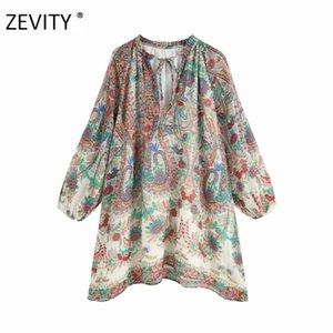Zevity Женщины старинного Agaric кружева v шея Тотем цветок печать шифон мини платье женщина случайной свободное vestidos платье партия DS4201