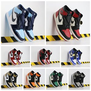 2020 New Shoes inJordan1 Retro Basketball Shoes Mens Chicago red 1s Sneakers Black Sports Training eur 40-46