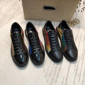 2020w new luxury design mens fashion leather printed sports shoes all-match breathable mens casual shoes mens banquet shoes Size: 38-45
