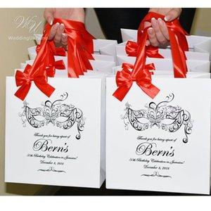 la fiesta de cumpleaños de la mascarada Bolsas personalizadas con lazo de satén cinta y su nombre elegantes bolsos del favor, papel elegante bolsa para los huéspedes