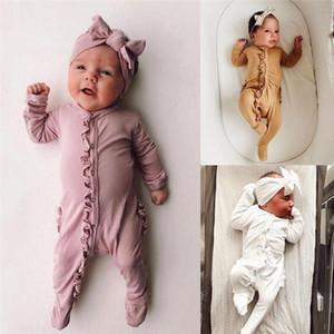 новорожденные одежда для новорожденных Baby Girl Boy длинный рукав Solido-шея Ромпер + оголовье Комбинезон Outfit Set 2PCS Conjunto Infantil Menino