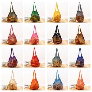 Cotton long portable net pocket grid bundle Fruit handbag pocket fishing net bag fruit woven handbag