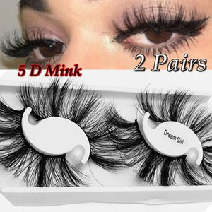 2 Pairs Long Thick 25MM Lashes 5D Mink Hair False Eyelashes Dramatic Wispy Fluffy Full Strip Lashes Handmade Eye Makeup Tools