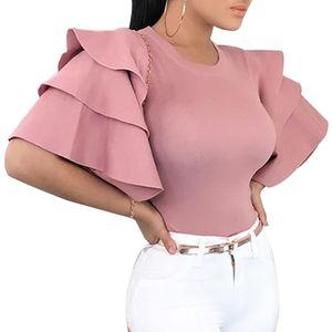 여성 프릴 반소매 블라우스 2019 여름 우아한 O-목 슬림 숙녀 사무실 셔츠 한국어 패션 핑크 레드 블라우스 Blusa Y19050501 탑