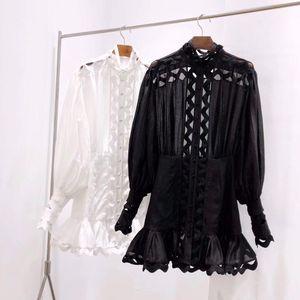Milan piste robe noire / blanche O Robe à col de manches longues femmes avec dentelle haut de gamme Designer Vestidos De Festa 662