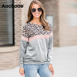 Aachoae 2020 осень Толстовка женщин Мода Leopard печати Лоскутное Hoodie вскользь нашивки с длинным рукавом пуловер Дамы O шеи Вверх