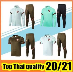 2020/21 PORTOGALLO giacca tuta vestiti di formazione di calcio del 2020 2021 Portogallo di formazione pantaloni tuta calcio Abbigliamento sportivo uomo maglione set Polo