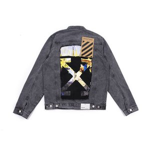 OW Tide brand OFFWHITE2019 back stitching Monet oil painting men's and women's jeans jacket of the same style