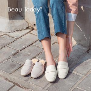 BeauToday Penny Katır Kadınlar Orijinal İnek Deri Yuvarlak Burun Marka Kayma Ons Bayan Düz Ayakkabı Handmade36084